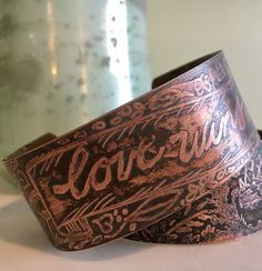 A personal favorite from my Etsy shop https://www.etsy.com/listing/506796697/love-wins-etched-cuff-ooak
