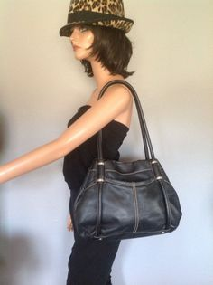 Bag Genuine Leather Tignanello Black Hobo Purse  Designer  Fashion Stylish Chic  | eBay