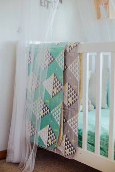 Organic Bassinet Blanket play mat in mint by EmpireEcoDesigns
