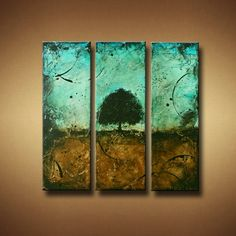Abstract Tree Painting Tryptic Three Canvas by BrittsFineArt
