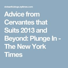 Advice from Cervantes that Suits 2013 and Beyond: Plunge In - The New York Times