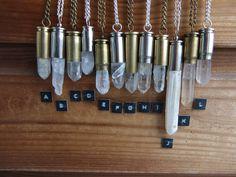 Raw Quartz Crystal Bullet Necklace