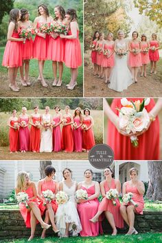 strawberry ice coral inspired wedding and bridesmaid dresses 2015