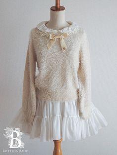 4423d7cb 🌹Secret Honey🌹Shaggy Fur Sweater Dress Beige LARME Antique Lolita Japan-M  D961