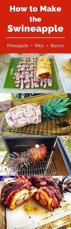 How to Make the Swineapple: Hollowed-out pineapple stuffed with ribs, all wrapped in bacon. This would be awesome for a luau, hawaiian party, or a cool new family bbq treat.