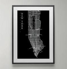 Manhattan Map Print New York Street map City Map by bluestudio50
