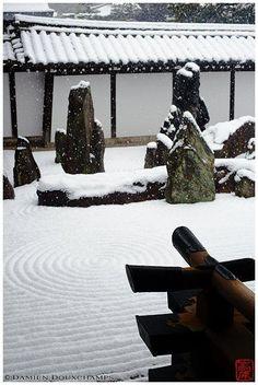 Snow in Zen Garden, Tofuku-ji Temple, Kyoto, Japan