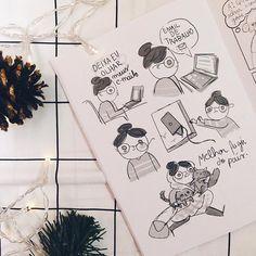 Como estou me sentindo nessas últimas semanas do ano  Ilustração fofa da @giovanamedeiros que me enviou presentes lindos de Natal, depois mostro lá no blog ✨ #omundodejess #illustration