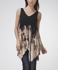 This Urban X Black & Beige Tie-Dye Sleeveless Handkerchief Top by Urban X is perfect! #zulilyfinds