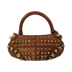 Brown Leather Burberry Prorsum Handbag with Brass Studs   From a collection of rare vintage top handle bags at https://www.1stdibs.com/fashion/handbags-purses-bags/top-handle-bags/