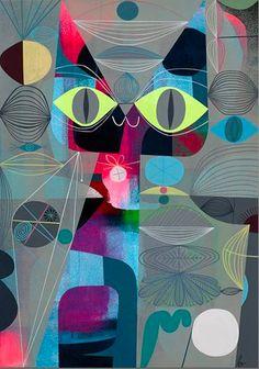 """Yarn,"" by Tim Biskup ~ LA Cat Art Show"
