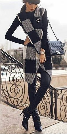 #winter #outfits grey and black plaid coat