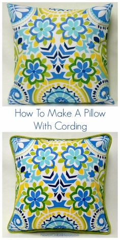 DIY Pillows and Creative Pillow Projects - DIY Pillow With Cording - Decorative Cases and Covers, Throw Pillows, Cute and Easy Tutorials for Making Crafty Home Decor - Sewing Tutorials and No Sew Ideas