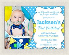 Boys 1st Birthday Invitation / Blue and by InvitationsByLittleP