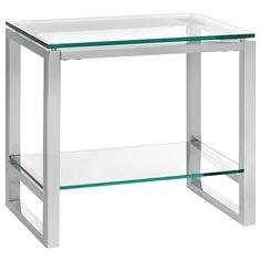 Table d'appoint avec tablette et dessus en verre trempé/TABLES D'APPOINT/MEUBLES|Bouclair.com