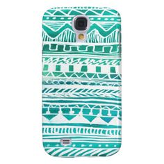 Turquoise Aztec Pattern Samsung Galaxy S4 Cases