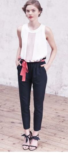 Waist contrast fabric + belt idea