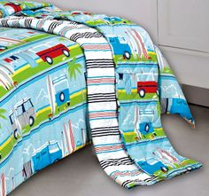 Kooky Surfs Up Coverlet Quilt Cover Sets, Surfs Up, Bed Sheets, Baby Car Seats, Cushions, Quilts, Children, Throw Pillows, Young Children