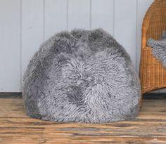 Yeti English Sheepskin Grey Pouffe