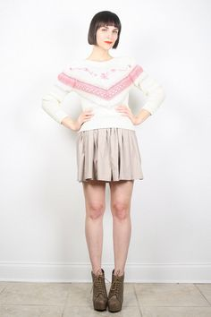 Vintage Hippie Sweater Cream Ivory Pink by ShopTwitchVintage