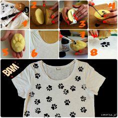 Krótki tutorial - DIY Koszulka w kocie łapki