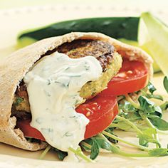 Vegetarian dishes! Chickpea burger and tahini wrap