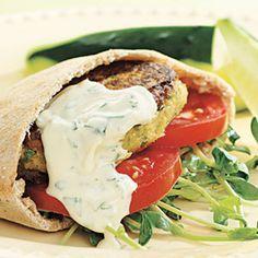 Vegetarian dishes! Chickpea burger and tahini wrap