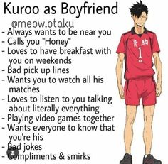 This shit is cringe. It's just an anime character, dammit! Kuroo Haikyuu, Kuroo Tetsurou, Haikyuu Funny, Haikyuu Fanart, Nishinoya, Kagehina, Haikyuu Volleyball, Volleyball Anime, Types Of Boyfriends