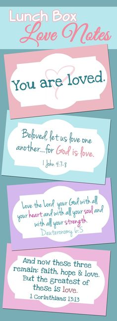 Printable Lunch Box Love Notes - Scripture and encouragement to drop in your child's lunch for the week of Valentines.