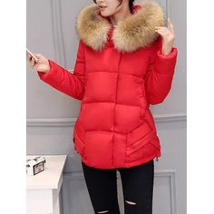 Just US$42.22 + free shipping, buy Red Slim Faux Fur Collar Puffer Jacket online shopping at GearBest.com.