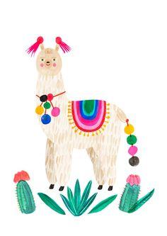 Alpaca Art Illustration Print by Emily Nelson. Alpacas, Art And Illustration, Illustrations, Llama Alpaca, Art Design, Print Patterns, Folk Art, Art For Kids, Art Drawings