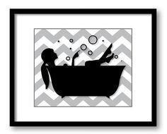 Bathroom Decor Bathroom Print Grey Gray Black White Girl with Hair Up in a Bathtub Tub Bathroom Art Print Wall Decor Modern Minimalist