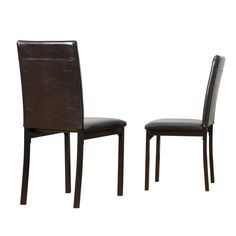 Impress your guest with this contemporary and elegance chairs, construct with sturdy metal and dark brown faux leather seat. Adding this furniture will sure keep your home fresh and charming to welcome your friends and family members.