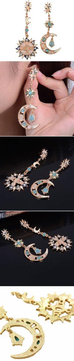 US$3.74+Free shipping#Star Sun Moon Rhinestone Crystal Earrings
