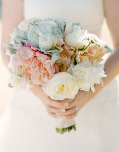 modern white and peach wedding