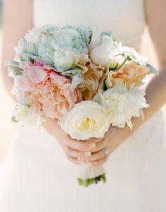 modern white and peach wedding