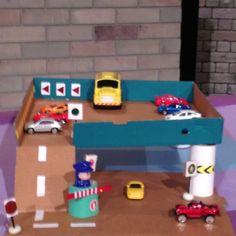 Pizza cardboard craft. Parking lot . Play mat for car toys. Diorama