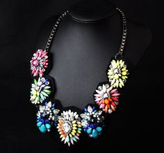WHOLESALE FASHION JEWELRY ACCESSORIES NEW DESIGN TOP SELLING WOMEN GORGEOUS BIB STATEMENT MIXED MULTI CRYSTAL NECKLACE COLLAR PENDANT