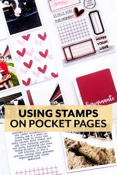 Using Stamps in Pocket Pages tutorial from Elle's Studio Pocket Page Scrapbooking, Elle Studio, Rowan, Sons, Stamps, Tutorials, Projects, Day Planners, Seals