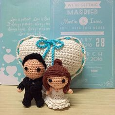 @Congratulations on your wedding mr & mrs martin @mrtin_wang @irenefrancochandra   From FA joy family  --- martin and irene wedding dolls and ring bearer pillow series --- #weddingdolls #wedding #matrimony #ringbearer #heartpillow #amigurumi #dolls #couple #bride #groom #weddingdress #crochet #handmade #handmadewithlove #bagcharms #keychain #turquoise #bluetheme #hotelaryaduta #aryaduta #medan #indonesia #weddinggifts #gifts #giftideas by udezigncrafts