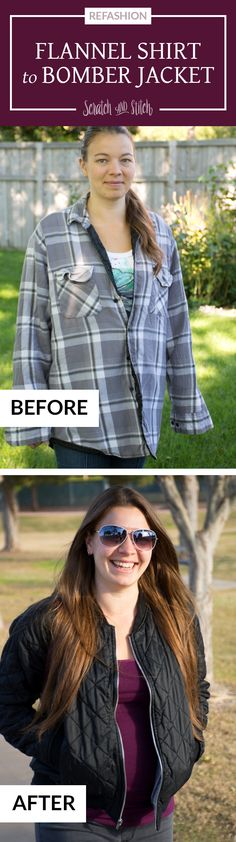 See how I turned my dad's flannel shirt into a quilted bomber jacket. This men's shirt refashion is easy to customize and a great addition to your closet.