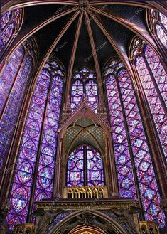 Beautiful Sainte Chapelle Paris, France Stain Glass Windows Gothic Architecture Religious Original Fine Art Photography Print - ©JWPhotography Begun after the year 1239 is Sainte-Chapelle or The Holy Chapel. Its erection was c - Stained Glass Church, Stained Glass Lamps, Stained Glass Windows, Fused Glass, Architecture Graphics, Gothic Architecture, Beautiful Architecture, Architecture Student, Sainte Chapelle Paris