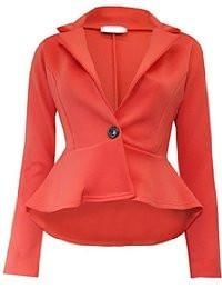 Ladies' Chic Hi-Lo Tail Back Peplum Blazer Jacket - Burnt Orange  #canadaonline #Oasislync #instagram #clothes #fashionstyle #kidsclothes #onlinestore #fashionista #shoppingday #shoppingonline
