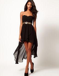 Enlarge TFNC Hi Lo Bandeau Dress with Embellished Waist