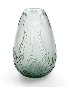 Grey glass vase with etched decoration of men vasedesign A.D.Copier decordesign Floris Meydam 1946 Glasschool executed by Glasfabriek Leerdam / the Netherlands