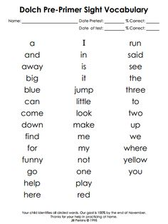 Dolch preprimer sight word cards | Dolch Words | Pinterest | Words ...