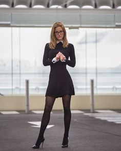 "woman-glasses: "" Woman-Glasses "" I ❤️ her sexy beautiful legs in high heels and shiny black stockings, and lovely mini dress. Sexy Outfits, Cute Outfits, Fashion Outfits, Secretary Outfits, Looks Pinterest, Sexy Legs And Heels, Elegantes Outfit, Fashion Tights, Black Tights"