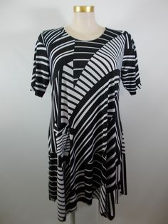 Comfy USA - Black/White Belgium Stripe 1 Pocket Kathy Dress