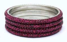 Indian Rose & Red Color 3 Rows Crystal Metal Lac Bangles (Set of 4)