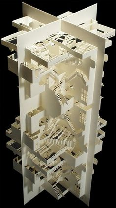 paper architecture Ingrid Siliakus - Paper architect/artist, if you look closely you can see David Bowie in there. Kirigami, Paper Architecture, Architecture Design, Tropical Architecture, Casa Pop, Paper Engineering, 3d Prints, Paper Folding, Paper Models
